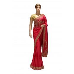 Designer bridal sikl saree with stone work