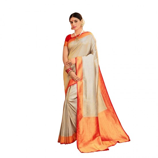 Ethnic wear gray silk saree.