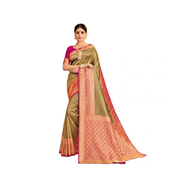 Designer gold silk saree