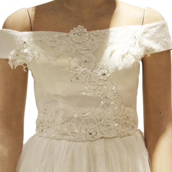 bushy gown with flower net lining and drop shoulder