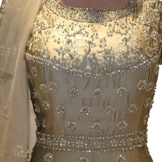 crystal stone work gown and grand duppata