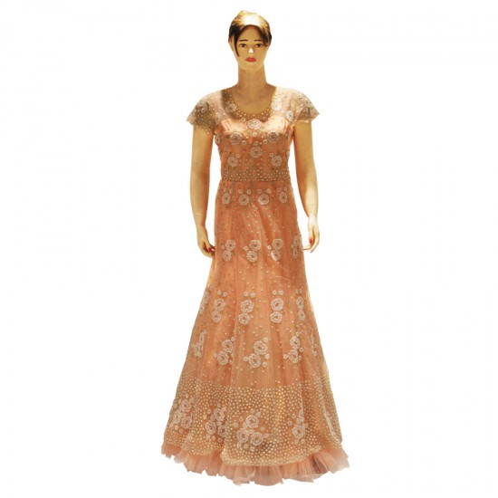 netted gown perl with candle work