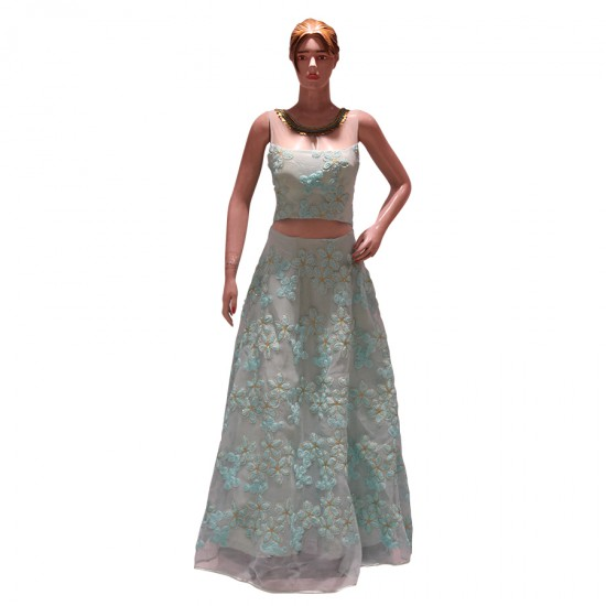 Gown with flower design